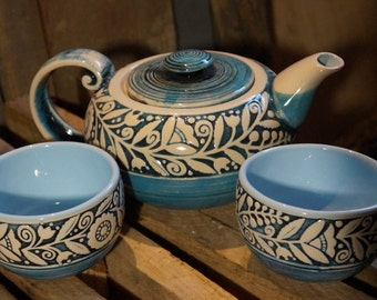 Wedding gift for mother of the bride Blue ceramic tea pot set Tea set with two mug I love you Valentine gift Pottery set Valentines day gift