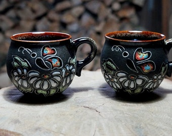 Birthday gift|for|her Ceramic mugs Chamomiles New mother gift Girlfriend gift Sister in law gift Set of 2 Tea cups Hand painted mug pottery