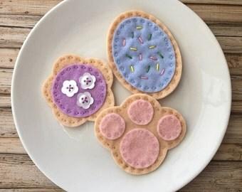 kids easter gift, easter basket gift, felt food cookie set, easter toy cookies, play food