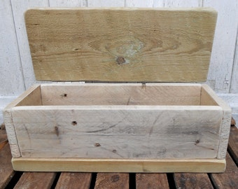 Hand Crafted Reclaimed Wood Driftwood Style Pencil, Paint Brush Keepsake Box