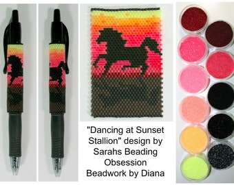 Dancing at Sunset Stallion by Sarahs Beading Obsession beaded pen kit (pattern sold separately)