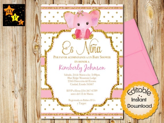 spanish baby shower invitation girl pink and gold elephant instant