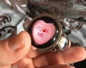 Valentine's day candy heart or cursive butt plug, because love! Stainless steel or silicon mature