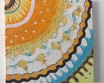 Yellow, turquoise and gold mandala quarter.  Mandala painting. Abstract mandala.