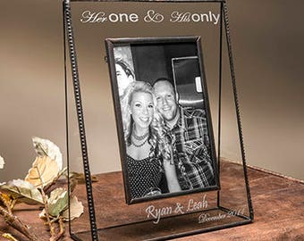 Wedding Gift Glass Picture Frame Personalized Engraved Photo Frame for Engagement Anniversary Wedding 4x6 Vertical Pic 319-46V EP536