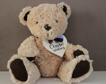 Edward Bear from Jellycat with personalised tag
