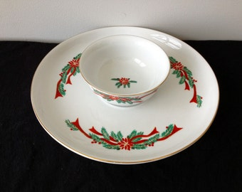 Tienshan Poinsettia and Ribbons Chip and Dip Tray - Retired!