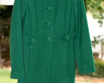 Vintage Banana Republic Women's Simply Sophisticated Wool Coat Green