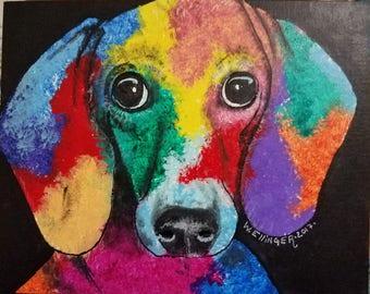 Abstract Dachshund- Dog Art- Acrylic Painting