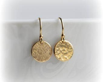 Hammered Gold Disc Earrings, Jewelry, Tiny Gold Earrings, Earrings UK, Gold Minimalist Earrings, Dangle Earrings, Gift for Her, Blissaria