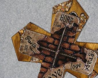 "DECORATIVE CROSS, HANDMADE 13"" x 20 1/2"" cross, wooden cross"