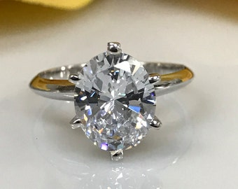 3.00 CT. OVAL Cut Solitaire Promise/ Engagement/Wedding/Anniversary/Solid 14k White Gold 6 Prong Setting #4513