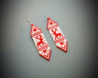 Handmade beaded peyote earrings, gift for her, Christmas earrings, Deer earrings, Miyuki earrings, Red and white earrings