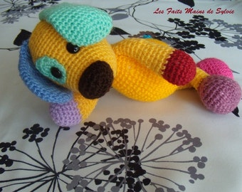 Multicolored crochet dog scrappy