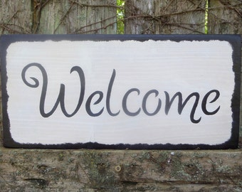 """WELCOME.....Rustic, Country, Primitive, Decorative Wooden Sign, 15"""" X 7.25"""", Hand-Painted, Home Wall Decor, Porch Decor"""