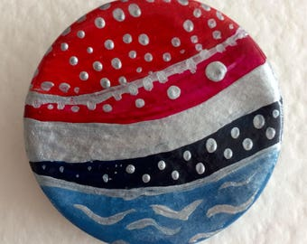 Abstract red, blue, black and silver brooch. Colourful acrylic painted clay pin brooch