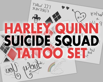 Harley Quinn Suicide Squad Temporary Tattoos (DIGITAL DOWNLOAD)