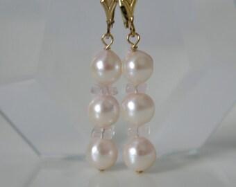 Rose Quartz Akoya pearls gold plated earrings Rose Quartz Akoya pearl earrings