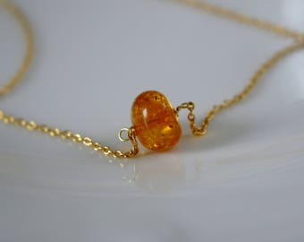 Tiny natural Amber necklace Silver 925 gold plated amber tiny natural amber necklace Silber925 Gilded amber