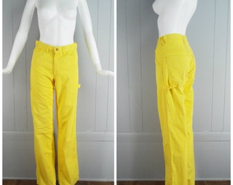 "Vintage Womens Gapworks Yellow High Waisted Carpenter Jeans | Size 28""waist x 33"" inseam"