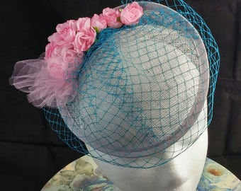 Pink Rose Fascinator with Teal Veiling