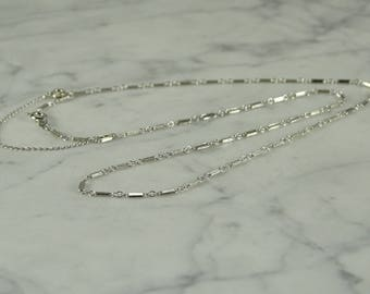 """14K White Gold Neck Chain (17"""" ) With Safety Chain"""