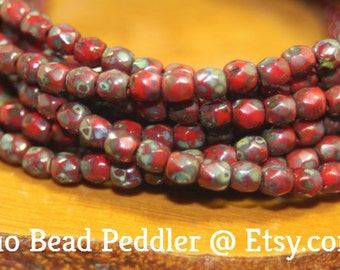 3mm Czech Firepolish, Faceted Round, 50 Beads, Brick Red Picasso
