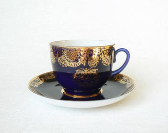 Lfz TEA Set Cobalt Blue Vintage/ Russian Porcelain Tea Coffee Cup & Saucer/ Happy New Year Cup/ Cobalt Blue, Gold Decal/ Lfz, USSR 1970s