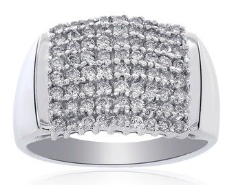 0.75 Carat Round Cut Diamond Cluster Pyramid Ring 10K White Gold