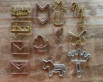 Flea Market Gold paper clip, unicorn, arrow, flamingo, envelope, cupcake, pineapple planner accessories, bookmark, decorations.