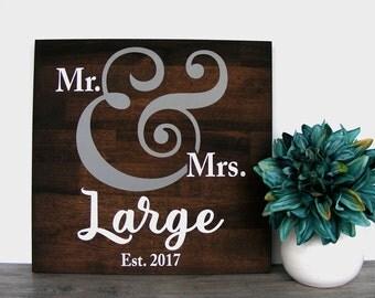 Newly Engaged Gift - Newlywed Gift - Last Name Established Sign - Wedding Date Wood Sign - Bridal Shower Gift - Custom Decor Sign