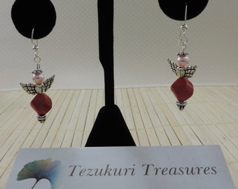 Red and Pink Angel Earrings