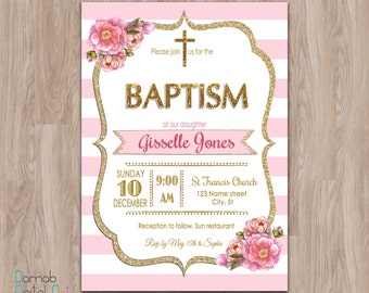 Pink and gold baptism invitations pink white gold christening pink and gold baptism invitation baptism invitation girl baptism invitation printable christening invitations stopboris Gallery