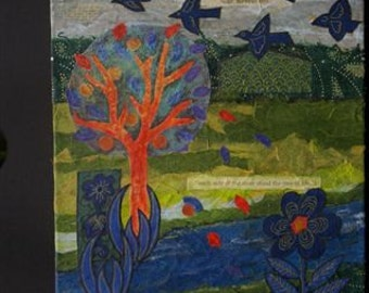 """Tree of Life - mixed media collage on canvas , textile acrylic and hand made papers  - 10"""" x 12"""""""
