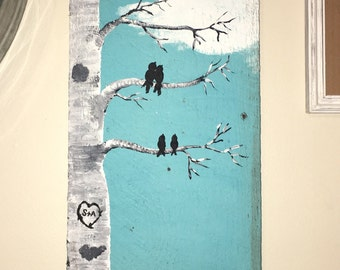 Bird family acrylic painting on choice of wood or canvas anniversary gift birthday present