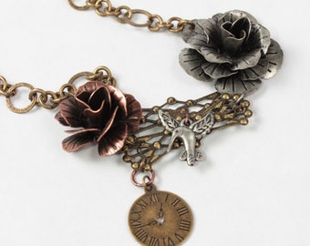 Women's Jewelry, Silver and Brass, Statement Necklace, Steampunk Jewelry, Pendant Necklace, Metal Necklace