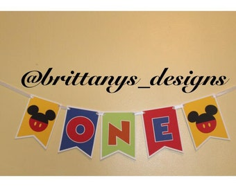 mickey high chair banner