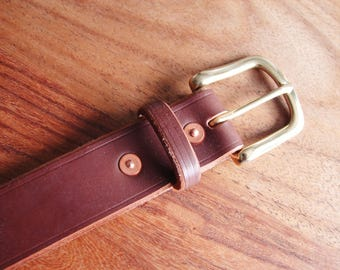 "Brown leather belt, brass buckle - 1 1/4"" wide - made to size"