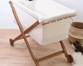 KootaCrib Baby's first bed entirely of oak wood and bassinet of cotton /  Wool-filled mattress