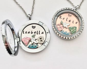 Custom LDS Baptism Locket Necklace Gift  - Mormon CTR charm - custom plate - dove charm - number 8 - water wave charm