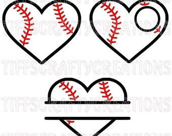 baseball heart svg, love baseball svg, baseball svg, softball svg, heart baseball svg, baseball heart cut files, baseball heart dxf
