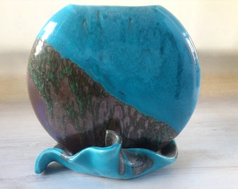 Round turquoise vase vintage ceramics 1980s