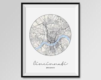 Cincinnati City Map Print, Circular Modern City Poster, COLORS - black and white, blue, red, yellow