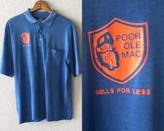 "1980's ""Poor Ole Mac Sells for Less"" Vintage Polo Shirt"