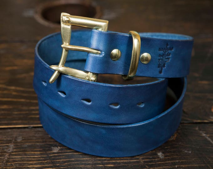 "1.25"" Indigo Dyed Leather Quick Release Belt with Solid Brass or Nickel Plated Hardware - Made to Order"