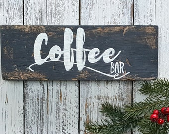 Coffee bar sign, coffee sign, rustic sign with distressing, Black sign on natural wood with Creamy White Lettering, Kitchen Sign, Decor