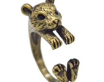 Antique Bronze Guinea Pig Adjustable Ring