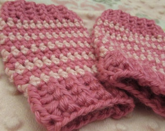 Pink white stipre Leg Warmers, sling buddies Baby and Toddlers sizes. Crochet wool warm winter clothes wear in a baby sling