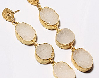 24K Yellow Gold Plated Natural Pale Rose Color Sugar Druzy Stone Drop & Dangle Earrings for Women