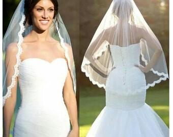 White Veil Ivory Veil Cream White Veil Short Wedding Veil Short Bridal Veil White Short Veil White Wedding Veil White Bridal Veil With Comb